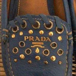 Prada studded loafer 37 blue slip on